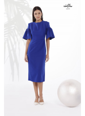 Ruffle Short Sleeves Bodycon  Blue Dress With A Special Design For Special Look