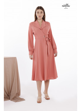 Ultra-soft  Self Belted Wrap Dress with long sleeves and formal Lapel