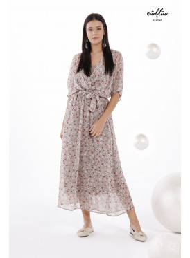 Elegant beige dress with floral prints for a charming look