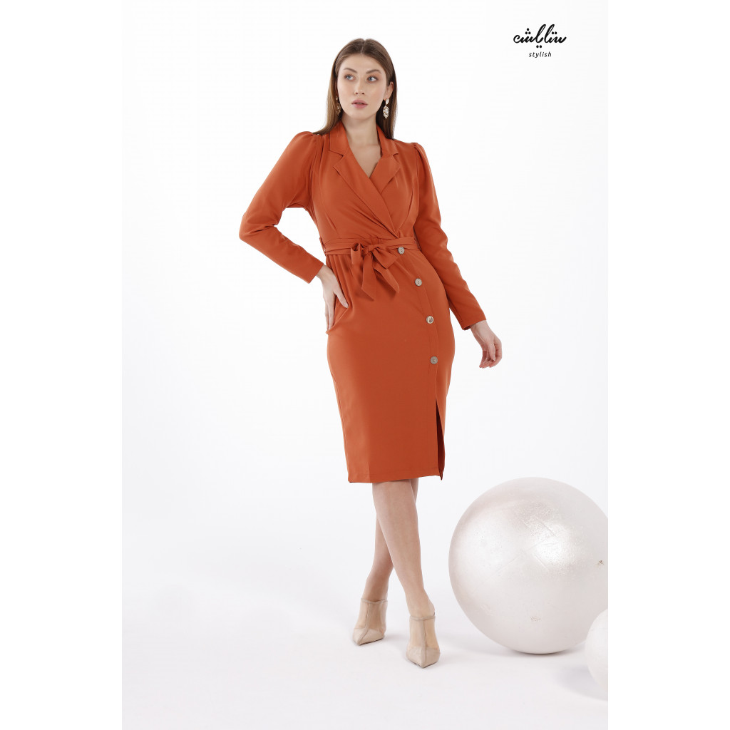 Formal Collar Belted Dress And Side Buttons In Brick color For A Soft Modern Look
