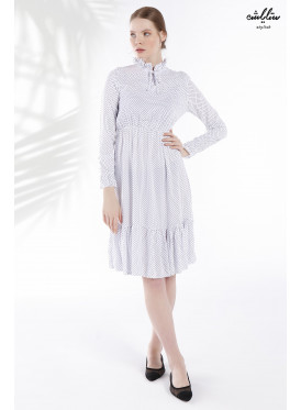 Polka Dots and High Neck Short Cotton White Dress