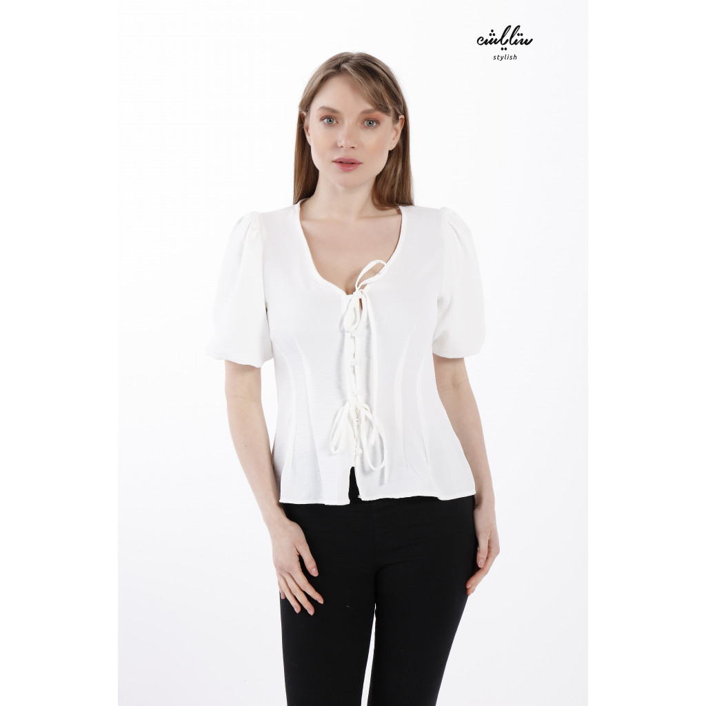Button up and  front strings short sleeve blouse