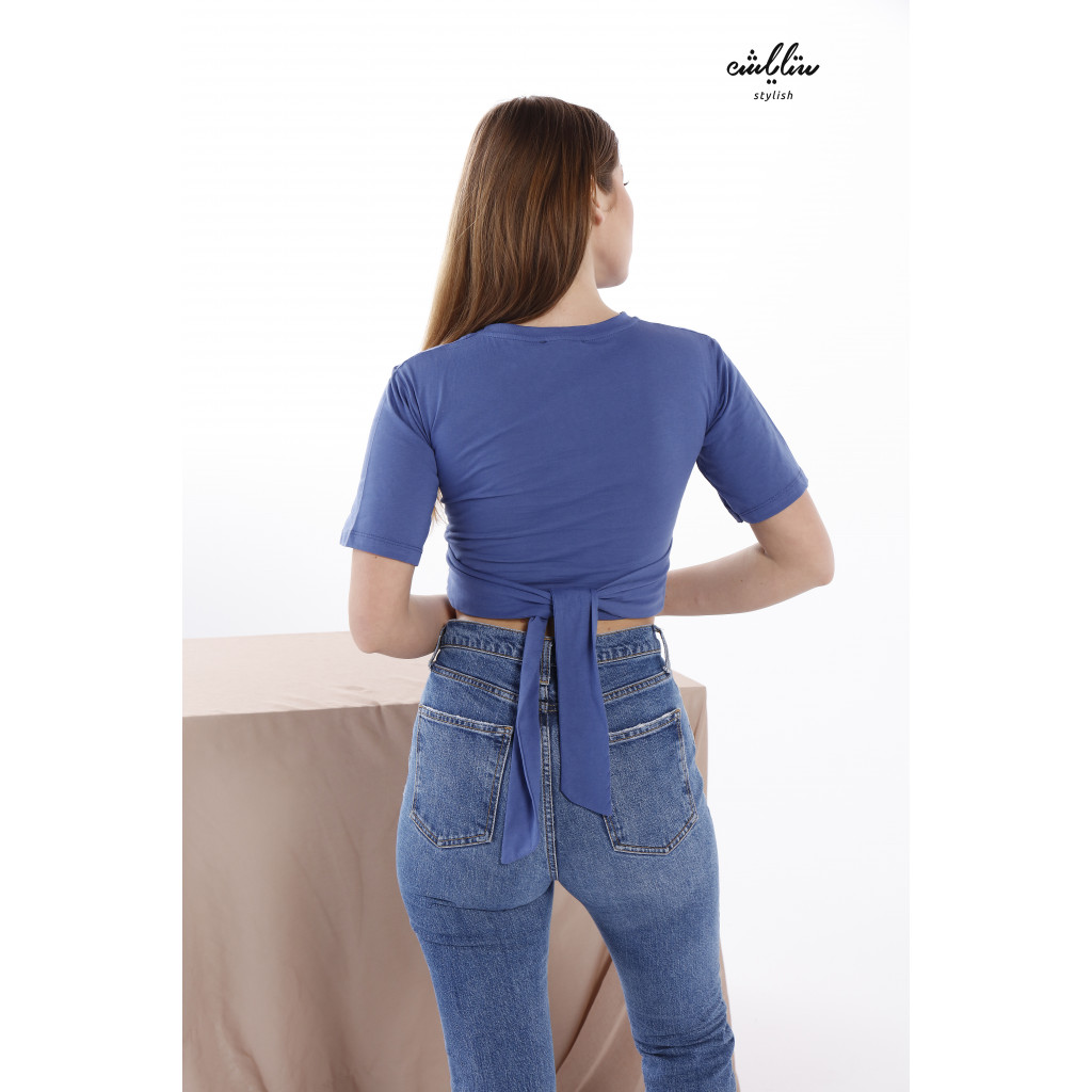 A blue Top With A Lace-Up Back, Feminine Design For A Striking Look.