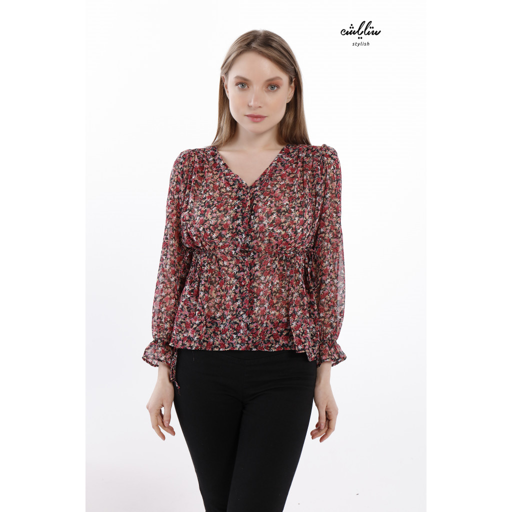 Floral V Neckline Chiffon Blouse With Long Sleeves And Self-Belted