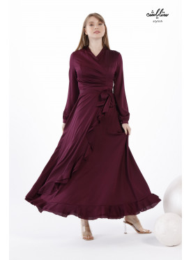 Ruffle Trim Wrap Dress with Side Shirred Design for Fantastic Impression
