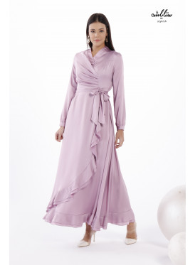 Ruffle Trim Wrap Lilac Dress with Side Shirred Design for Fantastic Impression