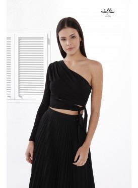 one shoulder blouse with waist tie