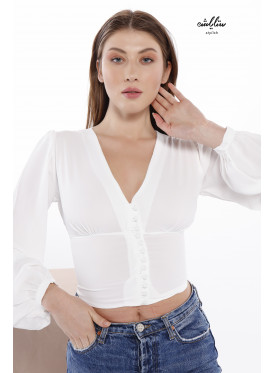 Deep V neck front button blouse with long sleeves