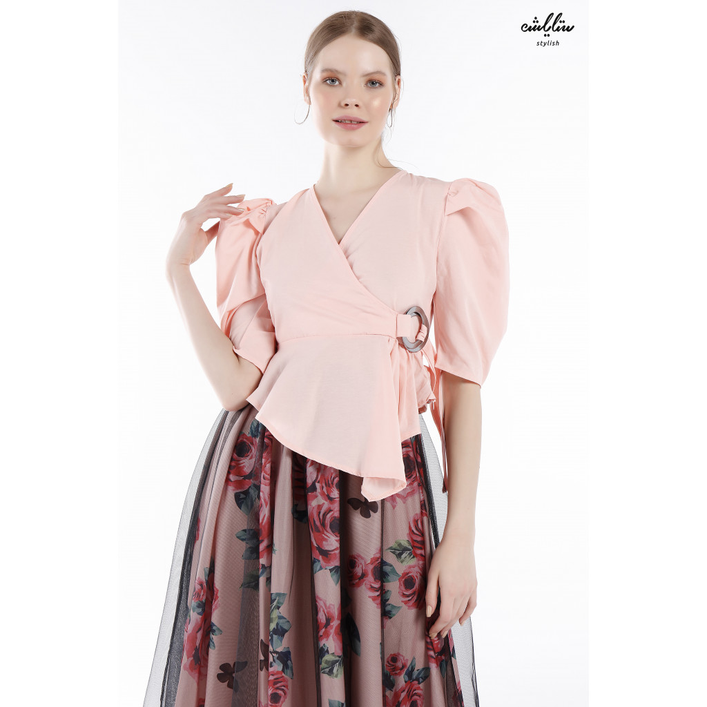 Short Puff sleeve Pink blouse, with side wrap design