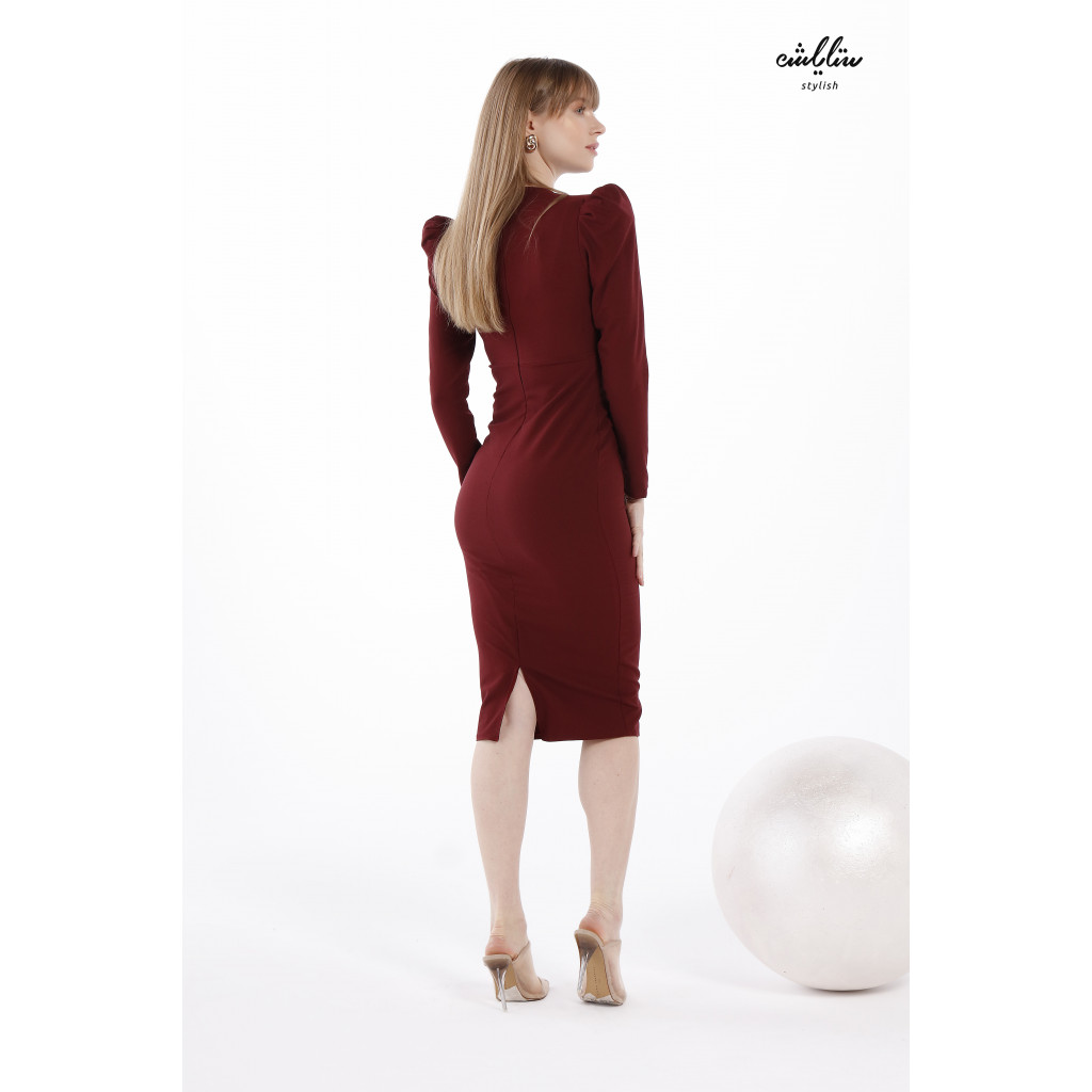 V-neck and Gigot Sleeves Bodycon Burgundy Dress for attractive  look