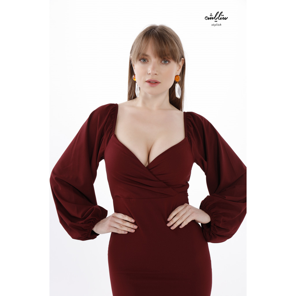 Sweetheart Neck Puff  wide Sleeves Bodycon Burgundy Dress for  an Attractive Feminine Touch