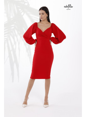 Sweetheart Neck Puff  wide Sleeves Bodycon Red Dress for  an Attractive Feminine Touch