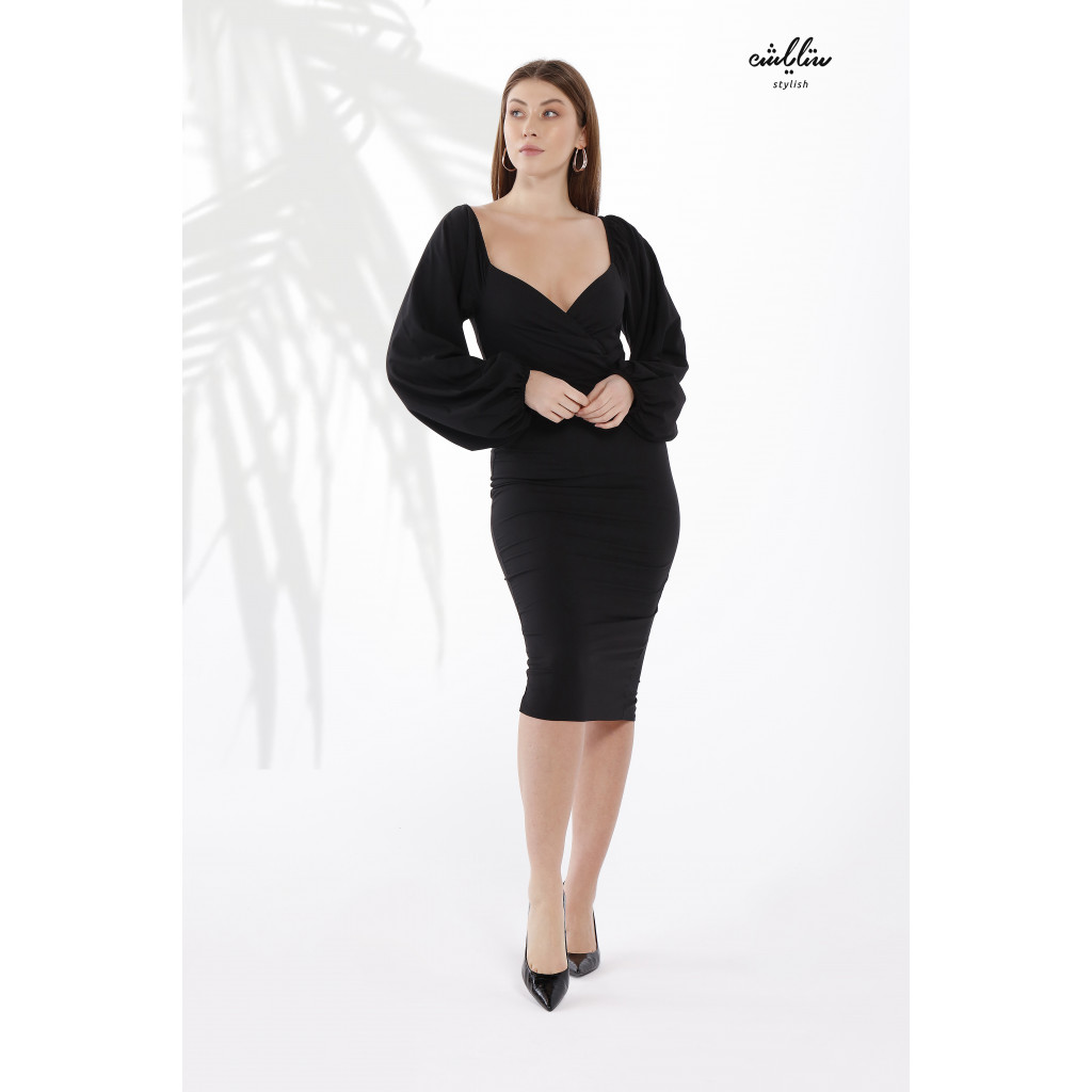 Sweetheart Neck Puff  wide Sleeves Bodycon Black  Dress for  an Attractive Feminine Touch