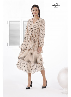 V Neck with Dotted Frill Detail Layered Ruffle Dress.