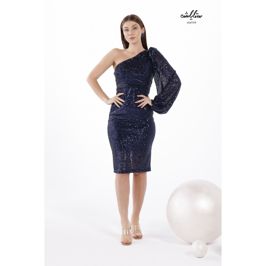 One Shoulder Puff Sleeve Glitter black Dress For special occasions