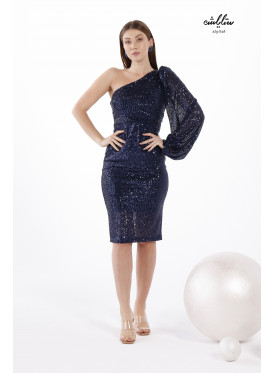 One Shoulder Puff Sleeve Glitter Navy Dress For Special Occasions
