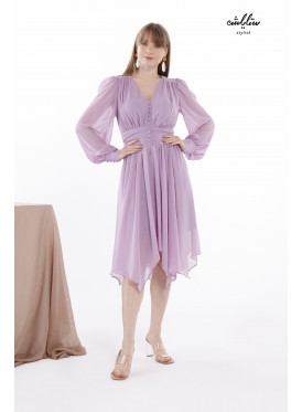 V Neckline Asymmetrical Hem Lilac Dress With long  Sleeves Decorated By Buttons For Wonderful Appearance