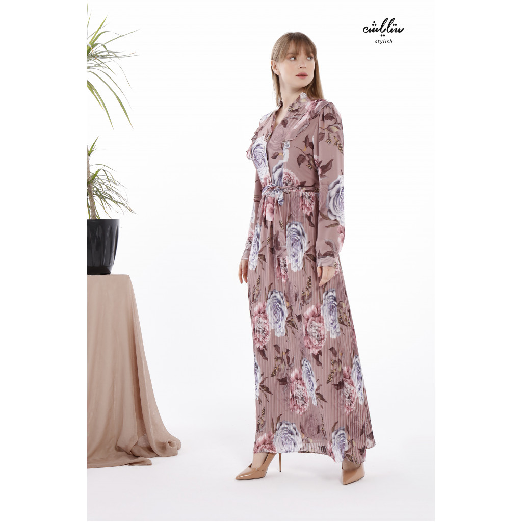 A Floral Print Long Dress with High Collar and Elegant Pleated Plisse