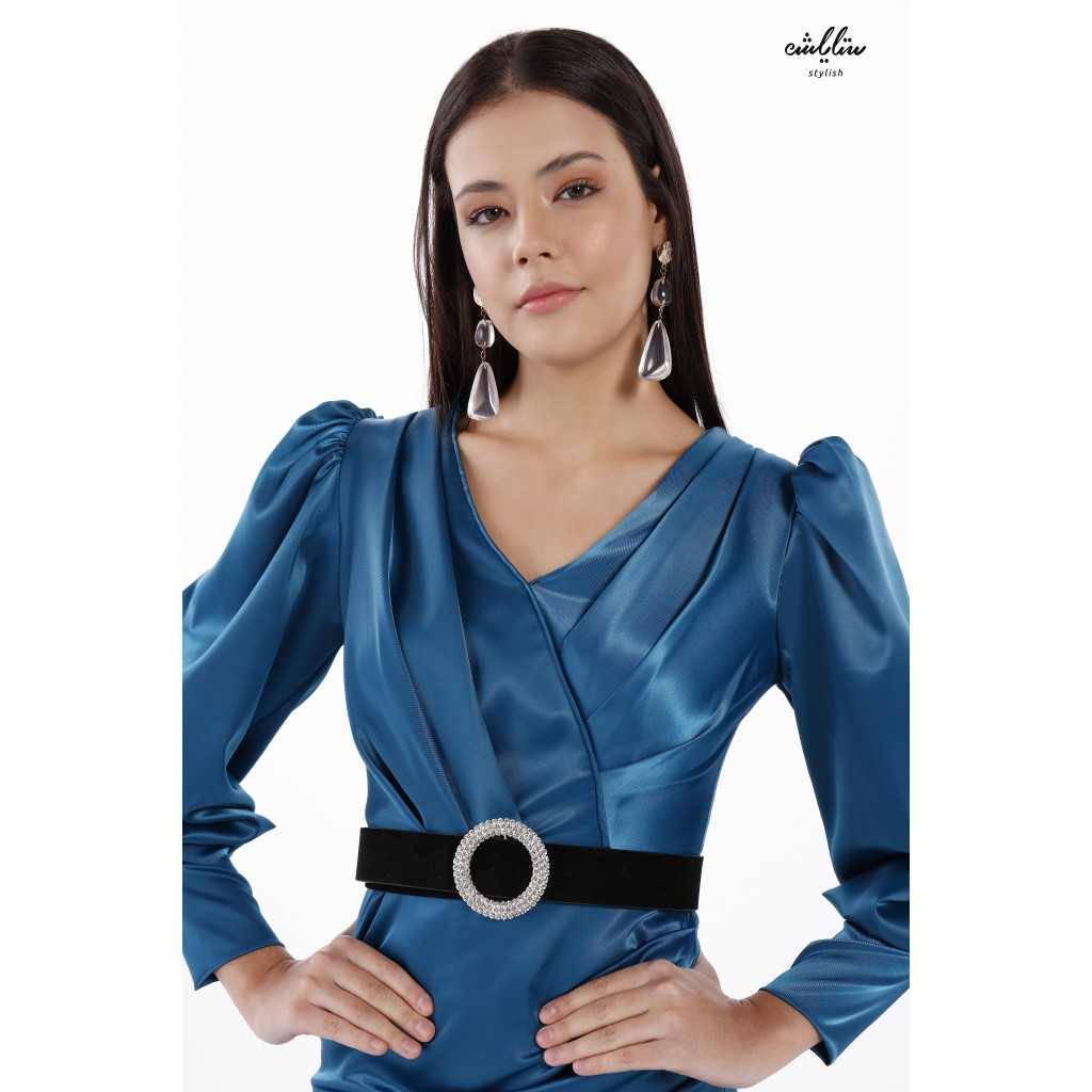 Classy Layered Ruffle Blue Dress With Wide Puff Sleeves For a Unique Look