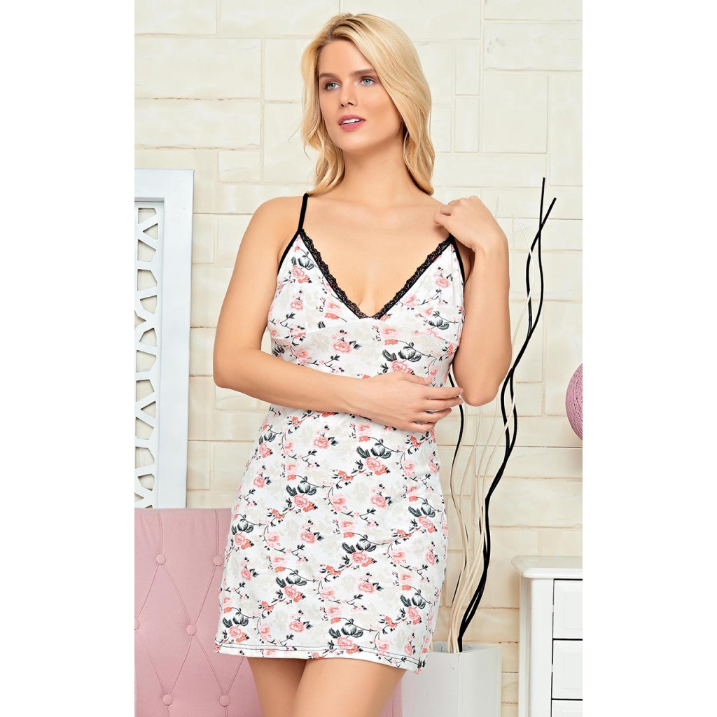 Floral Print Cami  with Lace Lounge Dress(loungewaer)