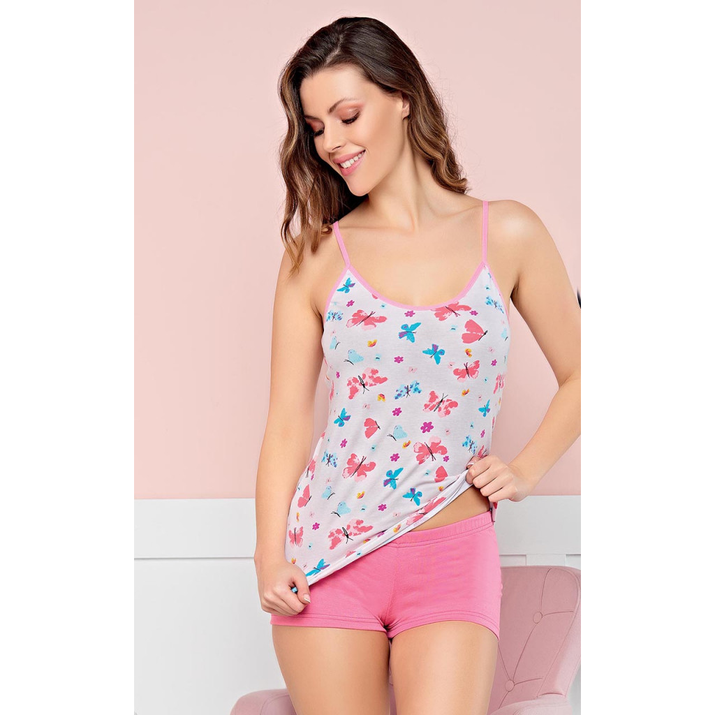Butterfly Print Cami with Pajama Set for Soft look