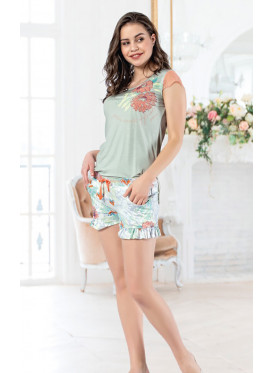Floral ruffle trim short & cool Top of  soft material for an Attractive look