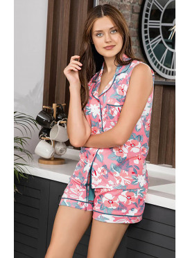 Cute pink pajamas with colorful floral prints for a fresh look.