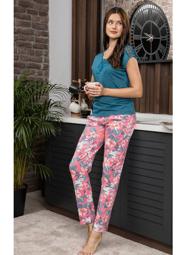 lace Top with Short Sleeves top  and lovely Prints Pants, comfortable  loungewear