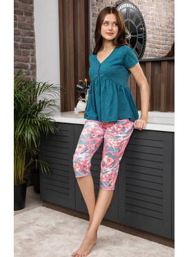Soft Pajama Set with Short Pants and loose Top with button