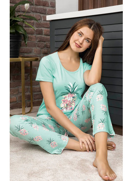 Floral & Pineapple  Print Smooth Pajamas in Harmonious and calm colors