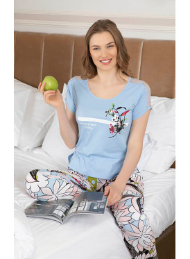 Floral Print Smooth Pajamas in Harmonious and calm colors ,Soft and Comfortable