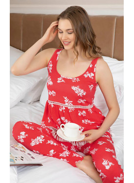 Floral Print Smooth sleeveless Pajamas in ,Soft and Comfortable