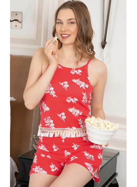 Floral Print Smooth Short  Pajamas in ,Soft and Comfortable