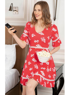 Floral Ruffle Trim Night Dress. For a beautiful look.