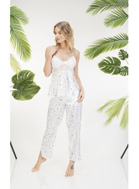 Floral Print Cami with Lace Pajamas set for A nice look