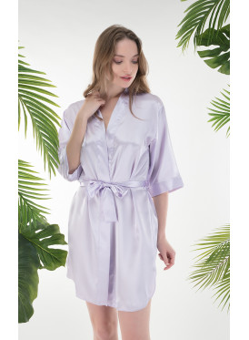 Soft satin robe for a refined look.