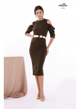 Round Neck fitted Bodycon olivedrab Dress