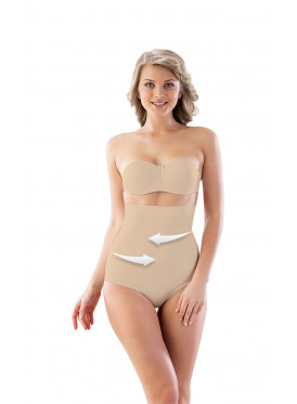 Beige Corset, With Non Slip Silicone Girdle, To Tighten Points Indicated By Arrows