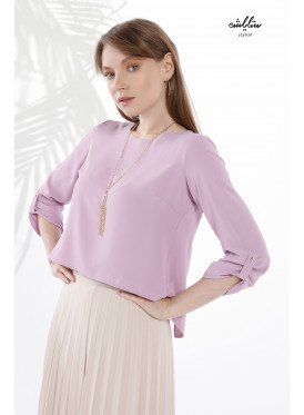 A sleeves blouse with a distinctive design from the back