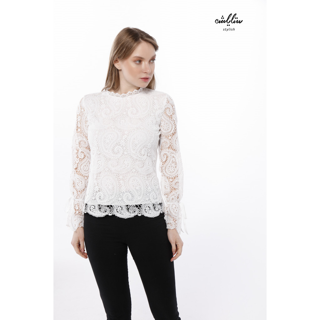 Guipure blouse with sheer sleeves
