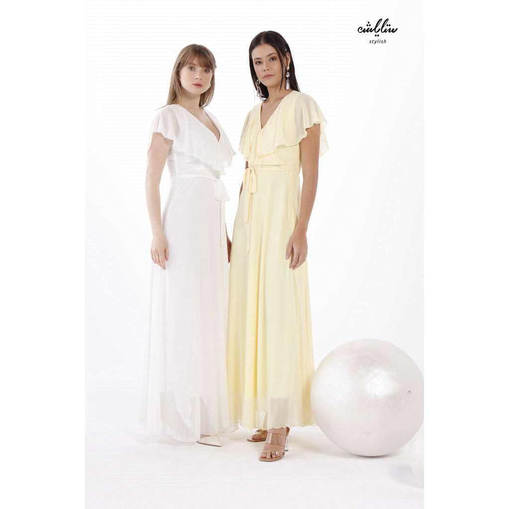 Butterfly Neck chiffon belted  White Dress