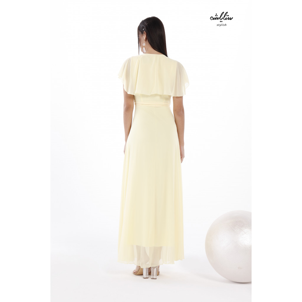 Butterfly Neck chiffon belted Dress