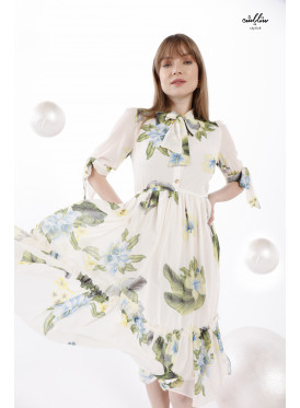 Tie collar floral  ruffle hem   Dress