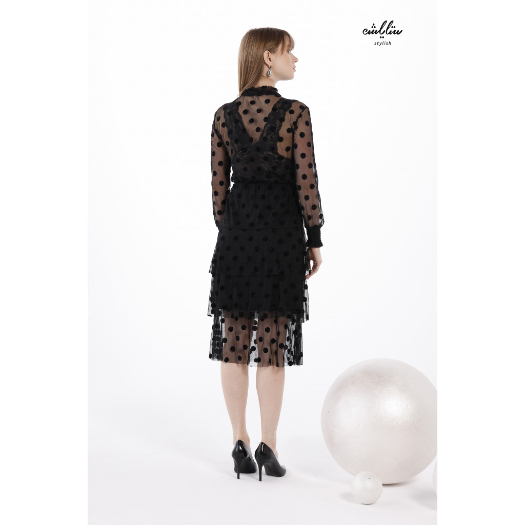 Velvet Dotted Flocked Mesh Layered Ruffle Dress and separate lace Bralette