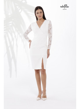 V-Neck Bodycon White Dress with Lace Sleeve of Shiny Stripes.