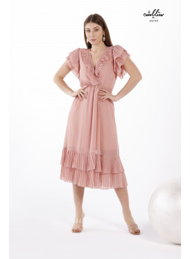 Contrast Binding Ruffle Trim Midi Chiffon Dress With Cap Sleeves  Full of ُElegance and Beauty