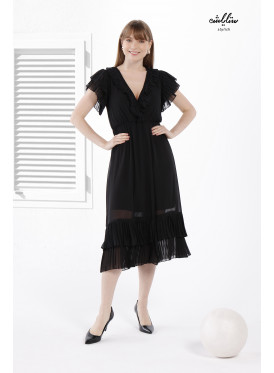 Contrast Binding Ruffle Trim Midi Chiffon Black Dress With Cap Sleeves  Full of ُElegance and Beauty