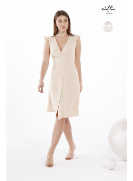 V-Neckline Beige Dress With A Belt Cut Out Waist For A Charming Look.