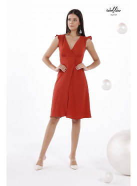 V-Neckline Dress In Brick Color With A Belt Cut Out Waist For A Charming Look