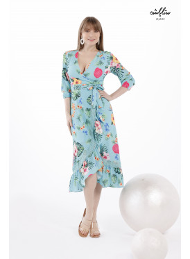 Floral  Ruffle Hem Tie Side Wrap Dress In Vibrant Color